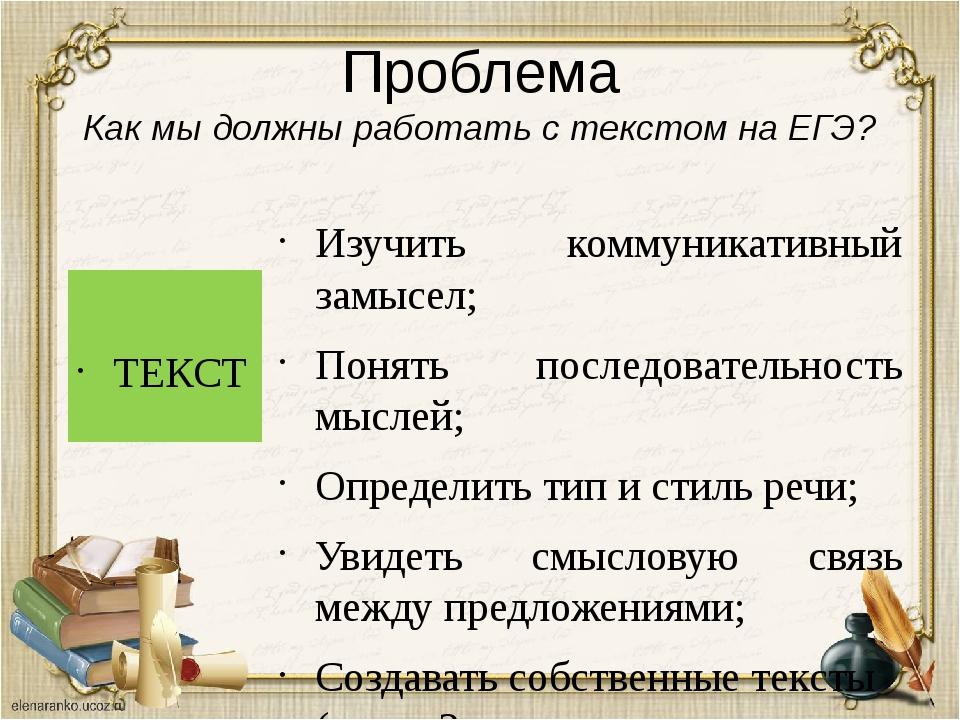 Проблема Как мы должны работать с текстом на ЕГЭ? ТЕКСТ Изучить коммуникативн...