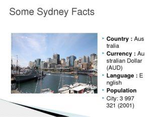 Country :Australia Currency :Australian Dollar (AUD) Language :English Pop