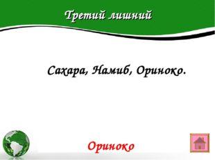 Третий лишний Text in here 2005 2006 2007 2008  Сахара, Намиб, Ориноко. Орин