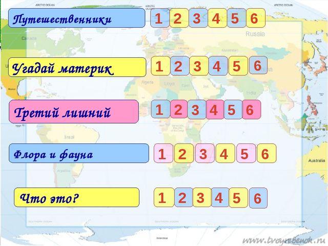 Путешественники Угадай материк 1 2 3 4 5 6 1 2 4 3 Третий лишний 1 2 4 3 Флор...