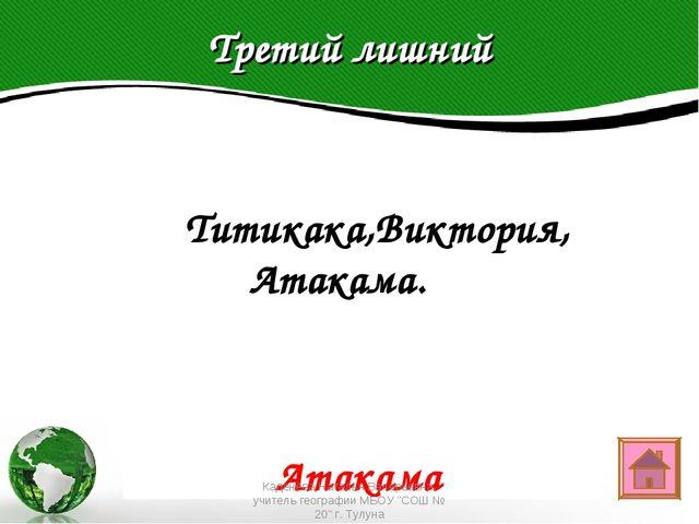 Третий лишний Text in here 2005 2006 2007 2008  Титикака,Виктория, Атакама....