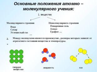 Основные положения атомно – молекулярного учения: 1. вещества Молекулярного с