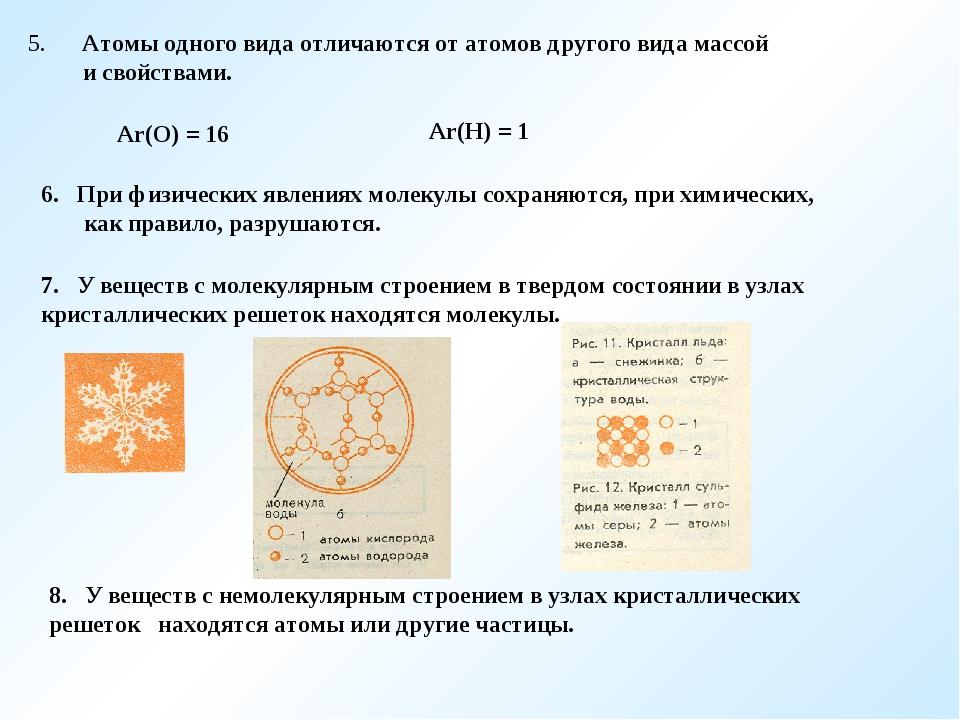 5. Атомы одного вида отличаются от атомов другого вида массой и свойствами. А...