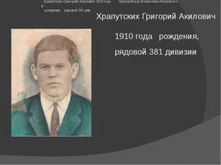 Храпутских Григорий Акилович 1910 годарождения, рядовой 381 дивизии  Храп