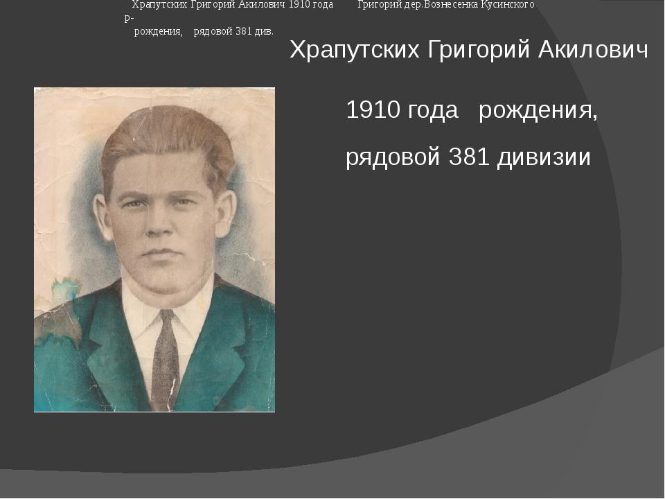 Храпутских Григорий Акилович 1910 годарождения, рядовой 381 дивизии  Храп...