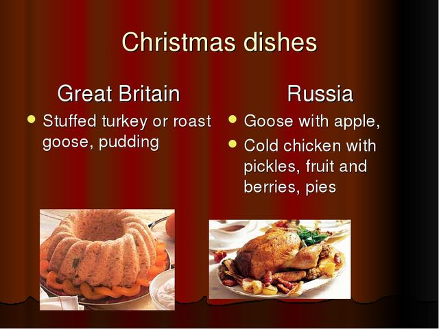 Christmas dishes Great Britain Stuffed turkey or roast goose, pudding Russia...