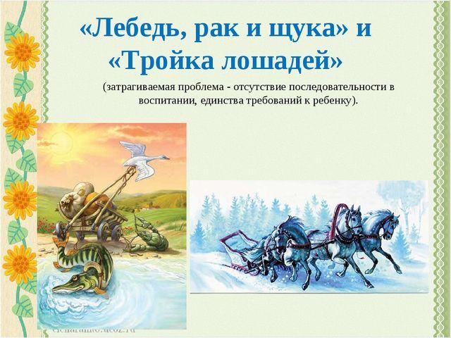 «Лебедь, рак и щука» и «Тройка лошадей» (затрагиваемая проблема - отсутствие...