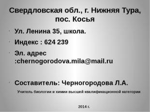 Свердловская обл., г. Нижняя Тура, пос. Косья Ул. Ленина 35, школа. Индекс :