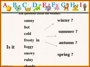 Ask questions about the weather. Is it sunny hot cold frosty in foggy snowy r