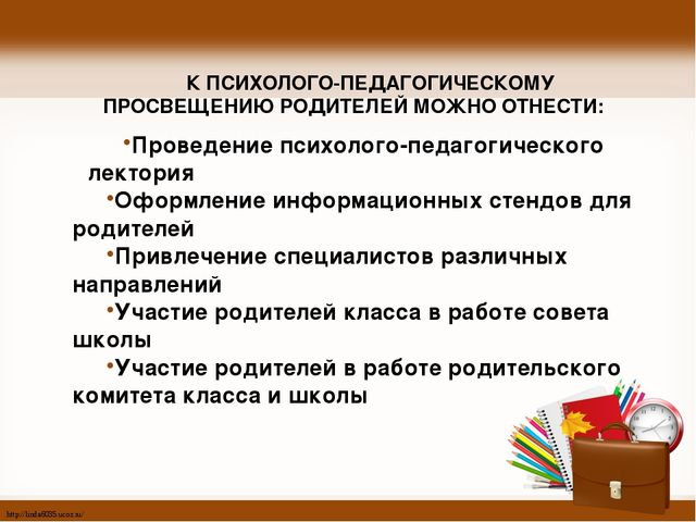 К ПСИХОЛОГО-ПЕДАГОГИЧЕСКОМУ ПРОСВЕЩЕНИЮ РОДИТЕЛЕЙ МОЖНО ОТНЕСТИ: Проведение...