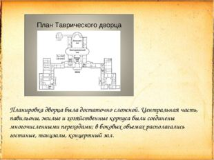 Планировка дворца была достаточно сложной. Центральная часть, павильоны, жилы