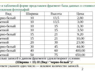 Ниже в табличной форме представлен фрагмент базы данных о стоимости изготовле