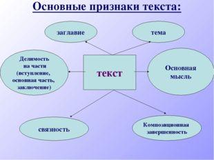 Основные признаки текста: текст связность Композиционная завершенность Делимо