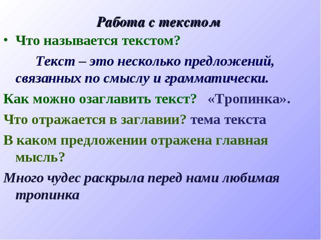 Работа с текстом Что называется текстом? Текст – это несколько предложений, с...