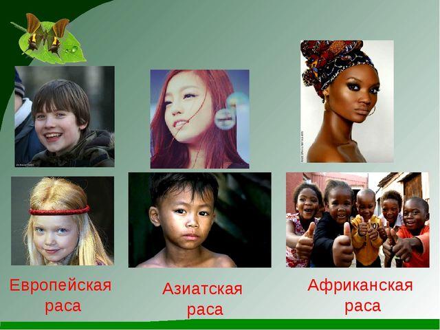 Европейская раса Азиатская раса Африканская раса