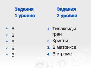 Задания 1 уровня Б В Б Б В Задания 2 уровня Тилакоиды гран Кристы В матриксе