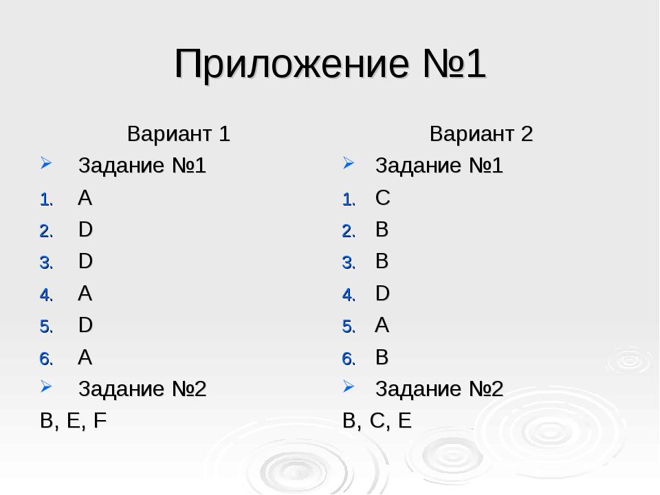 Приложение №1 Вариант 1 Задание №1 А D D A D A Задание №2 B, E, F Вариант 2 З...