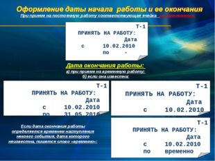 Т-1 ПРИНЯТЬ НА РАБОТУ: Дата с10.02.2010 по Дата окончания работы: а) пр