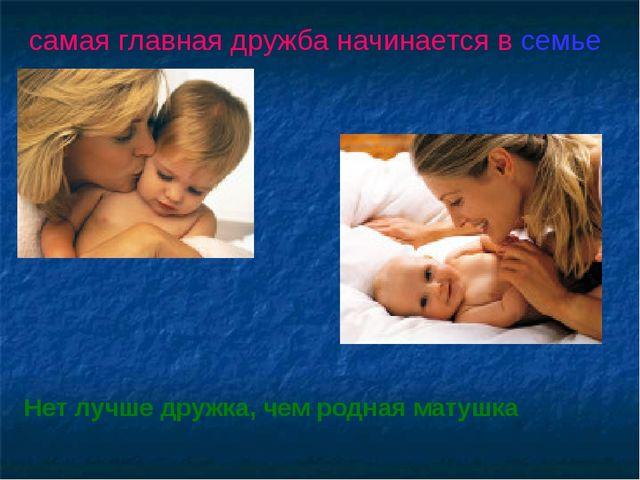 самая главная дружба начинается в семье Нет лучше дружка, чем родная матушка