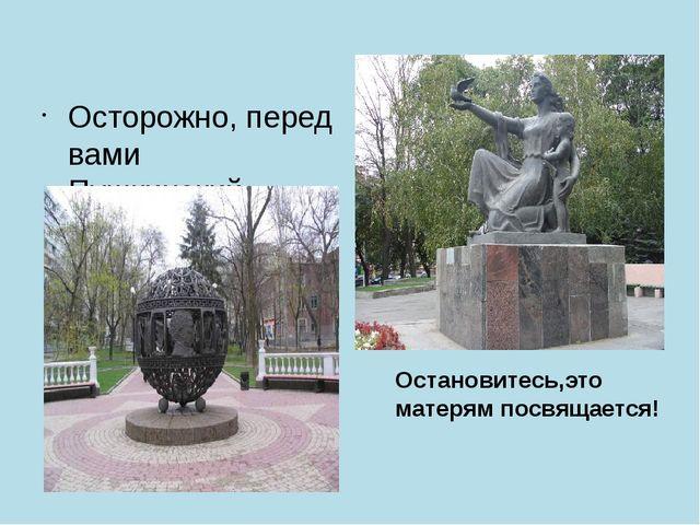 Осторожно, перед вами Пушкинский фонарь… Остановитесь,это матерям посвящается!
