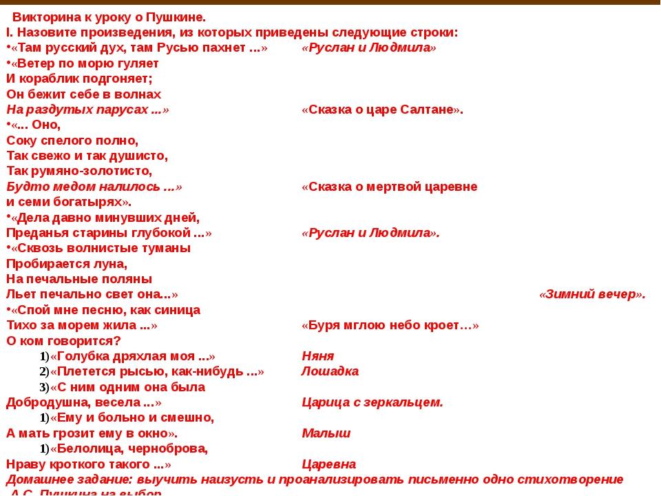 Викторина к уроку о Пушкине. I. Назовите произведения, из которых приведены...