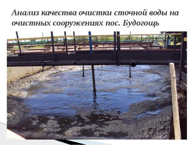 Анализ качества очистки сточной воды на очистных сооружениях пос. Будогощь