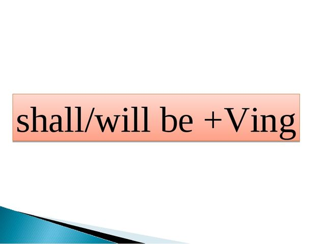shall/will be +Ving