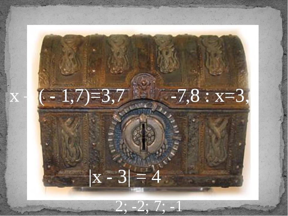 х – ( - 1,7)=3,7 -7,8 : х=3,9 |х - 3| = 4 2; -2; 7; -1