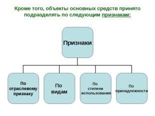 Кроме того, объекты основных средств принято подразделять по следующим призна