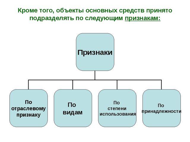 Кроме того, объекты основных средств принято подразделять по следующим призна...