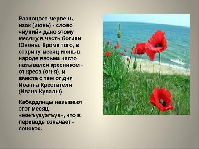 Разноцвет, червень, изок (июнь) - слово «иуний» дано этому месяцу в честь бо...