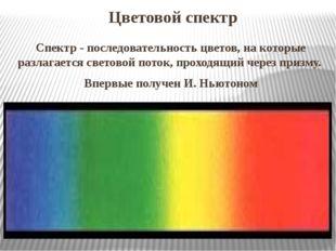 Цветовой спектр Спектр- последовательность цветов, на которые разлагается с