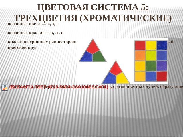 ЦВЕТОВАЯ СИСТЕМА 5: ТРЕХЦВЕТИЯ (ХРОМАТИЧЕСКИЕ) основные цвета—к, з, с основ...
