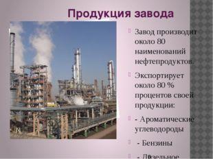 Продукция завода Завод производит около 80 наименований нефтепродуктов. Экспо