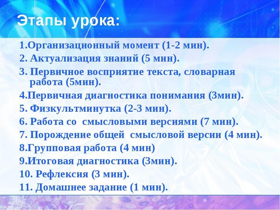 Этапы урока: 1.Организационный момент (1-2 мин). 2. Актуализация знаний (5 ми...