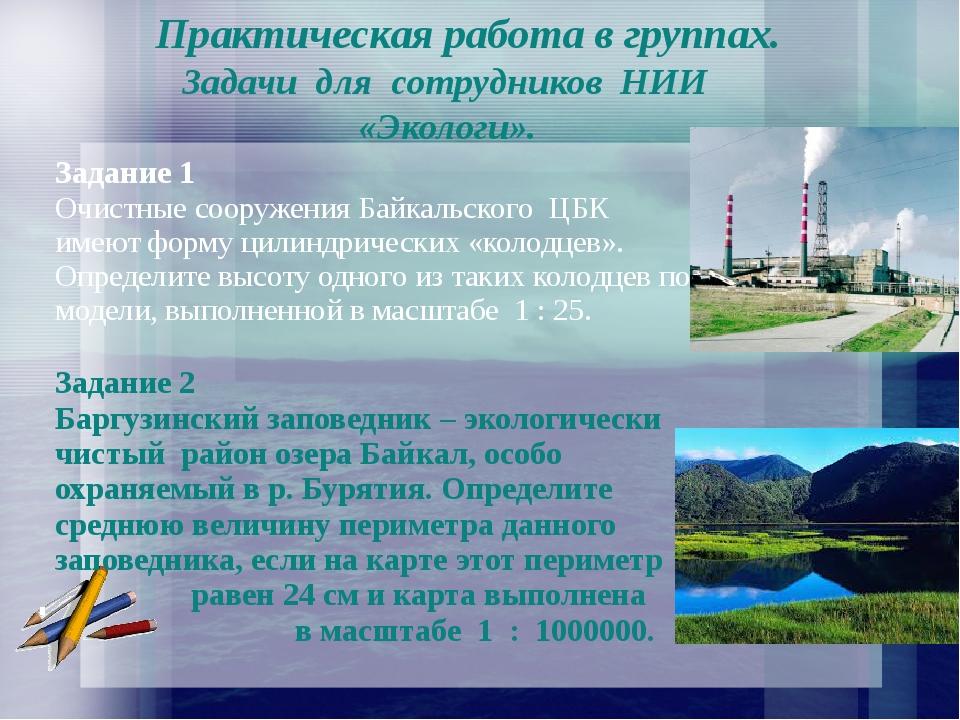Практическая работа в группах. Задачи для сотрудников НИИ «Экологи». Задание...