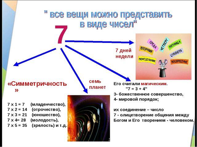 7 «Симметричность» 7 х 1 = 7 (младенчество), 7 х 2 = 14 (отрочество), 7 х 3 =...