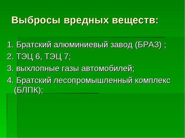 Выбросы вредных веществ: 1. Братский алюминиевый завод (БРАЗ) ; 2. ТЭЦ 6, ТЭЦ...