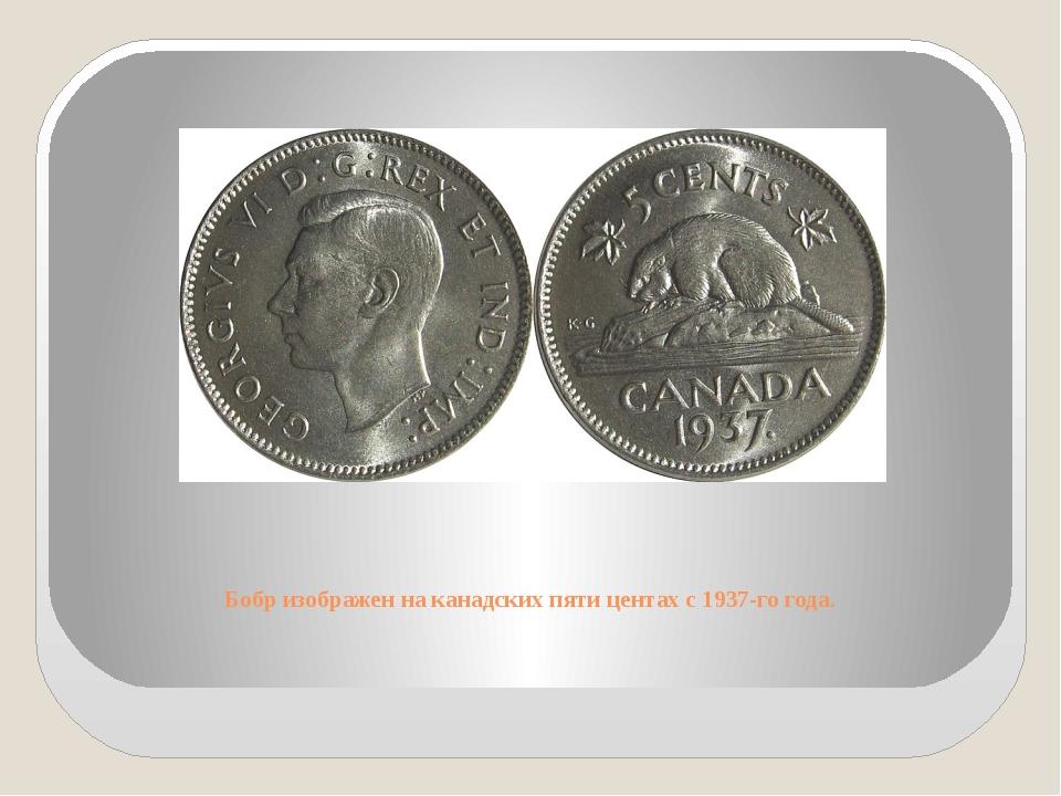 Бобр изображен на канадских пяти центах с 1937-го года.