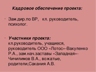 Кадровое обеспечение проекта: Зам.дир.по ВР, кл. руководитель, психолог. Учас