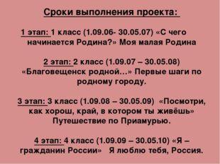 Сроки выполнения проекта: 1 этап: 1 класс (1.09.06- 30.05.07) «С чего начинае