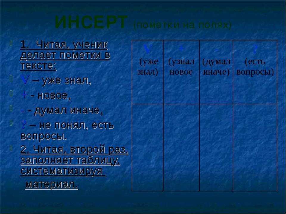 ИНСЕРТ (пометки на полях) 1. Читая, ученик делает пометки в тексте: V – уже з...