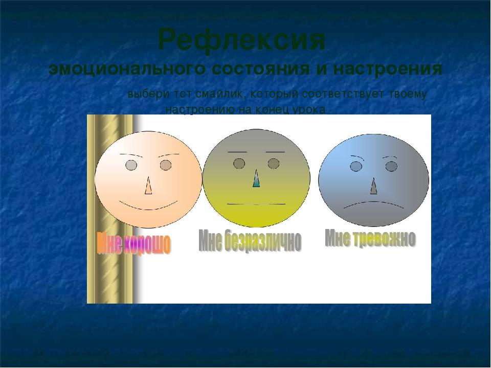 Рефлексия эмоционального состояния и настроения выбери тот смайлик, который...