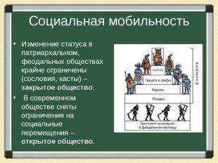 Социальная мобильность Изменение статуса в патриархальном, феодальных обществ