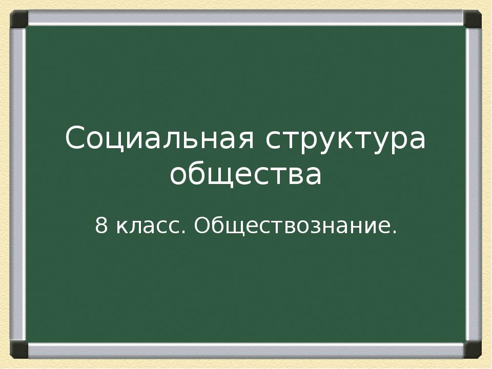 Социальная структура общества 8 класс. Обществознание.