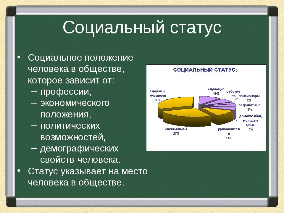 Социальный статус Социальное положение человека в обществе, которое зависит о...