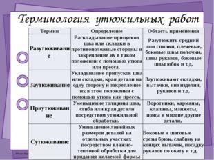 Терминология утюжильных работ Термин Определение Область применения Разутюжив