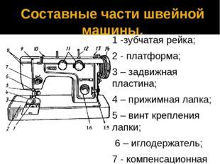 Составные части швейной машины. 1 -зубчатая рейка; 2 - платформа; 3 – задвижн
