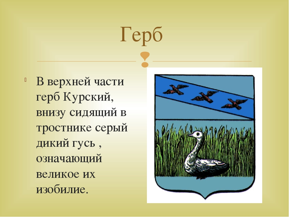 Герб В верхней части герб Курский, внизу сидящий в тростнике серый дикий гусь...