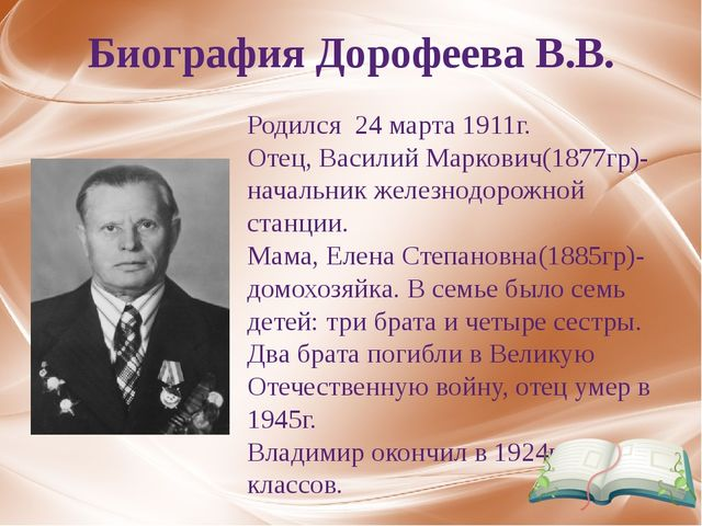 Биография Дорофеева В.В. Родился 24 марта 1911г. Отец, Василий Маркович(1877г...